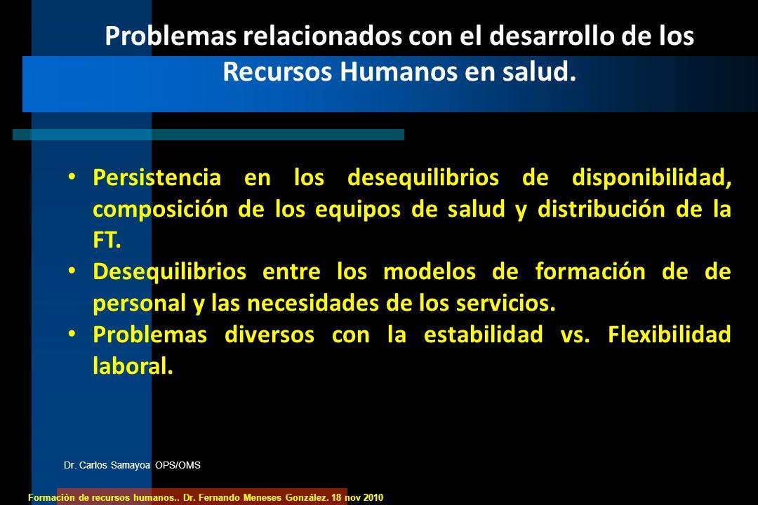 Formación de recursos humanos.. Dr. Fernando Meneses González. 18 nov 2010 Problemas relacionados con el desarrollo de los Recursos Humanos en salud.