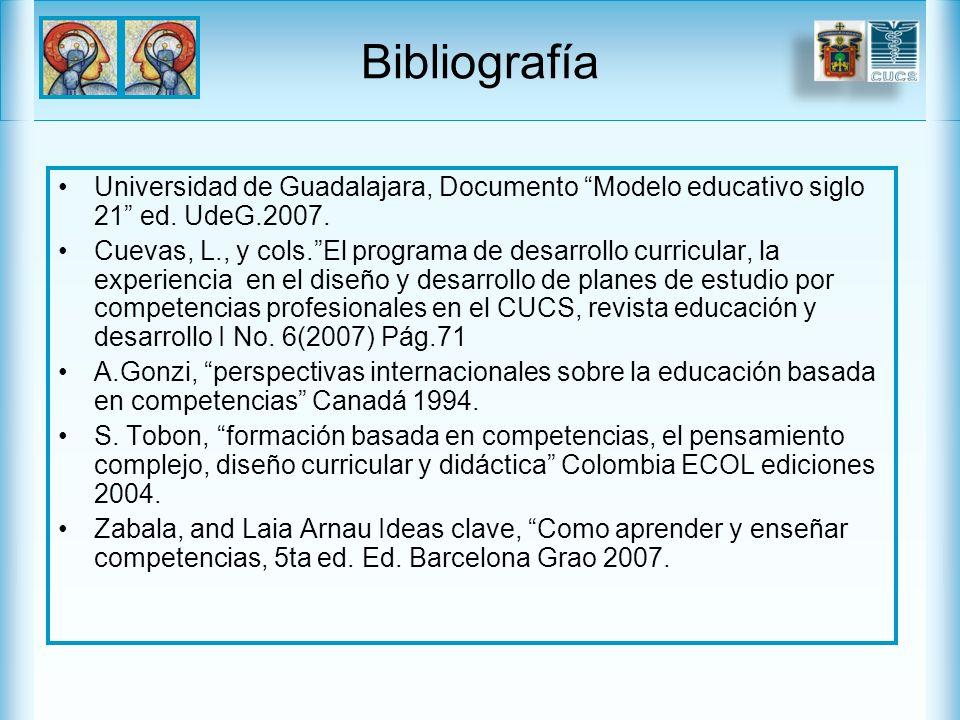 Bibliografía Universidad de Guadalajara, Documento Modelo educativo siglo 21 ed.