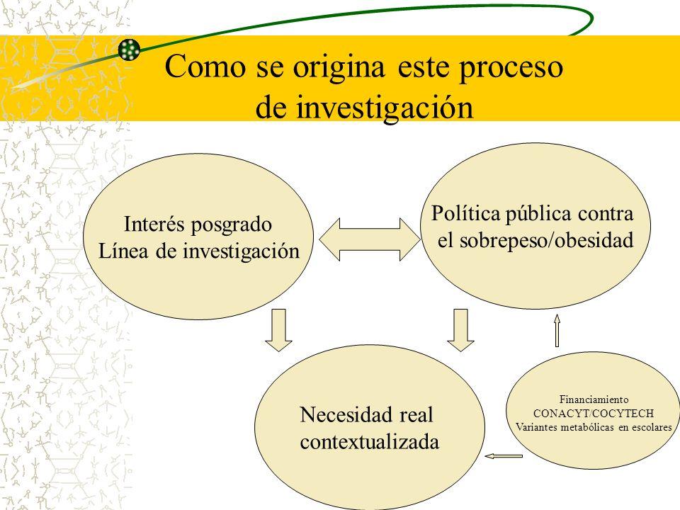 Interés posgrado Línea de investigación Como se origina este proceso de investigación Política pública contra el sobrepeso/obesidad Necesidad real con