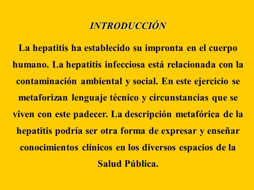 INTRODUCCIÓN La hepatitis ha establecido su impronta en el cuerpo humano. La hepatitis infecciosa está relacionada con la contaminación ambiental y so