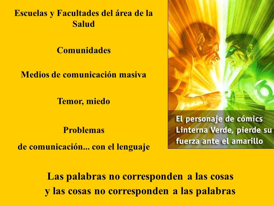 Escuelas y Facultades del área de la Salud Comunidades Medios de comunicación masiva Temor, miedo Problemas de comunicación...