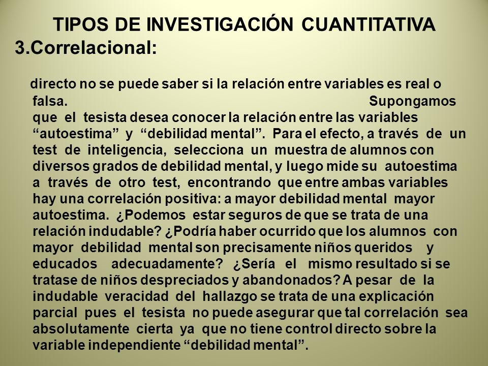 TIPOS DE INVESTIGACIÓN CUANTITATIVA 3.Correlacional: directo no se puede saber si la relación entre variables es real o falsa.