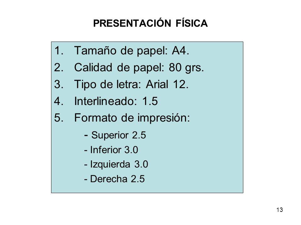 13 PRESENTACIÓN FÍSICA 1.Tamaño de papel: A4.2.Calidad de papel: 80 grs.