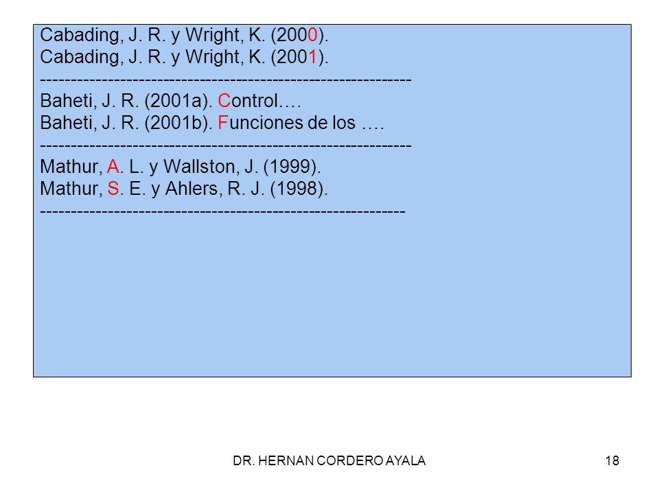 DR.HERNAN CORDERO AYALA18 Cabading, J. R. y Wright, K.