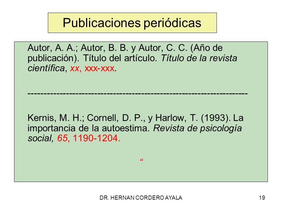 DR.HERNAN CORDERO AYALA19 Publicaciones periódicas Autor, A.