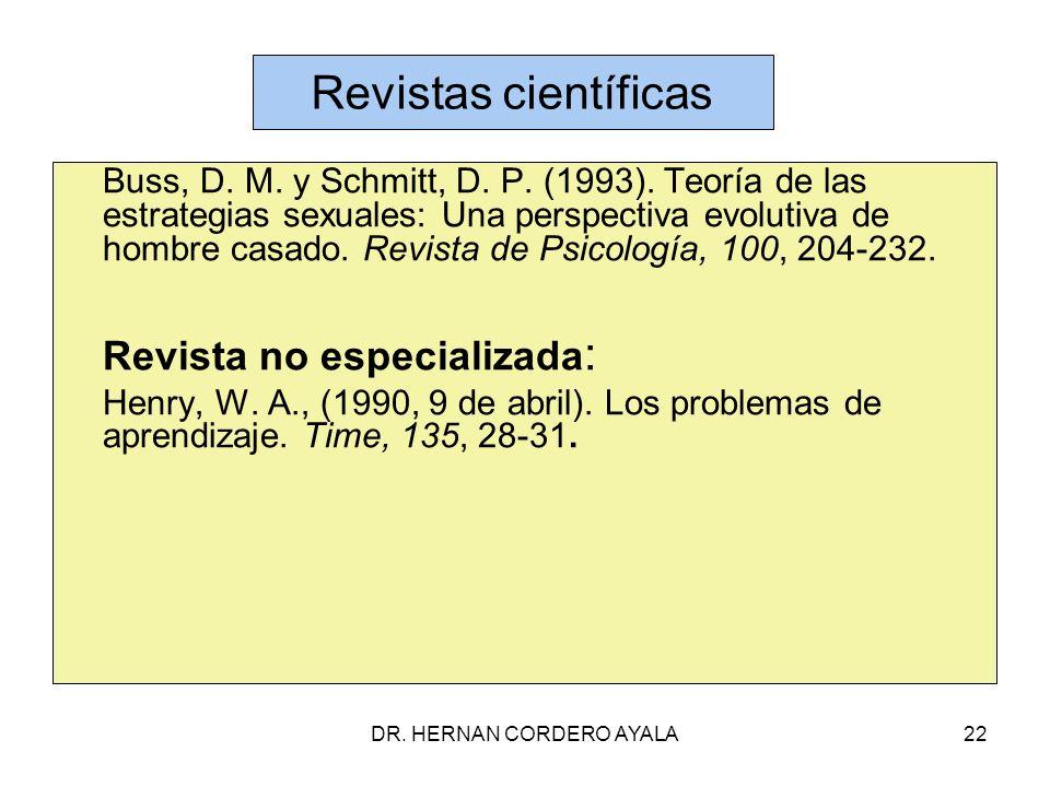 DR.HERNAN CORDERO AYALA22 Revistas científicas Buss, D.