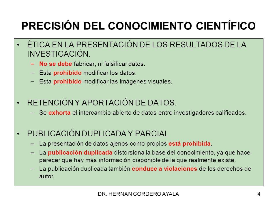 DR.HERNAN CORDERO AYALA35 CITACIÓN DE FUENTES Cuando cite, proporcione: –Autor.