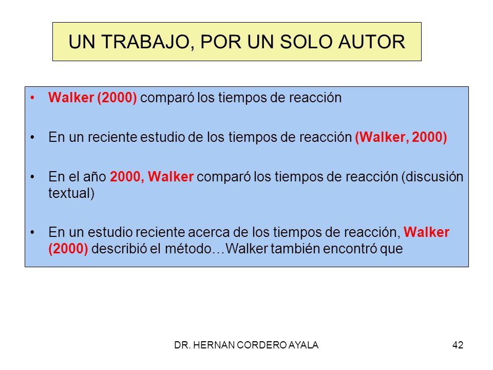 DR. HERNAN CORDERO AYALA42 UN TRABAJO, POR UN SOLO AUTOR Walker (2000) comparó los tiempos de reacción En un reciente estudio de los tiempos de reacci