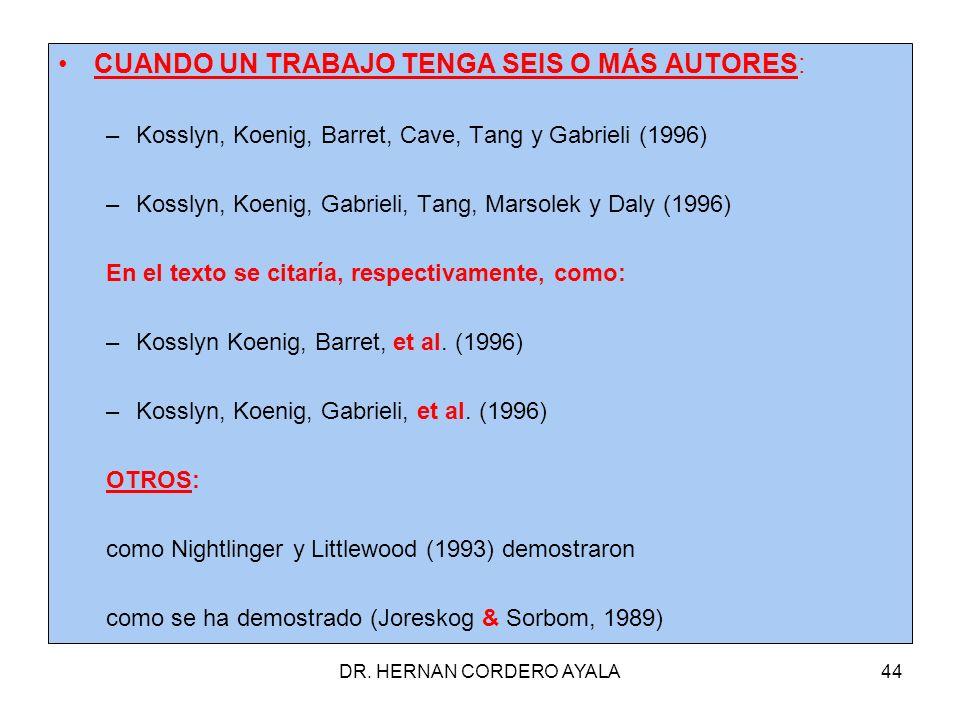 DR. HERNAN CORDERO AYALA44 CUANDO UN TRABAJO TENGA SEIS O MÁS AUTORES: –Kosslyn, Koenig, Barret, Cave, Tang y Gabrieli (1996) –Kosslyn, Koenig, Gabrie