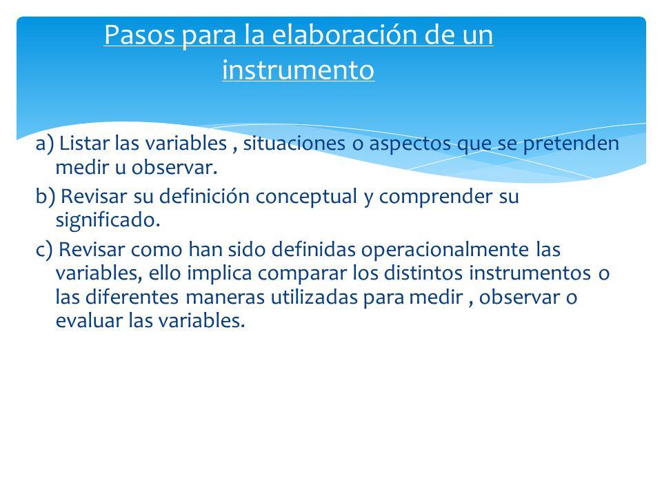 a) Listar las variables, situaciones o aspectos que se pretenden medir u observar. b) Revisar su definición conceptual y comprender su significado. c)