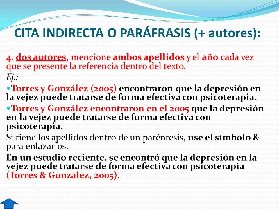 CITA INDIRECTA O PARÁFRASIS (+ autores): 4. dos autores, mencione ambos apellidos y el año cada vez que se presente la referencia dentro del texto. Ej