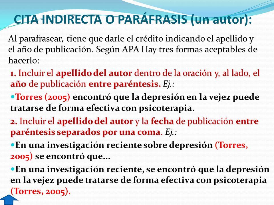 CITA INDIRECTA O PARÁFRASIS (un autor): 1. Incluir el apellido del autor dentro de la oración y, al lado, el año de publicación entre paréntesis. 1. I