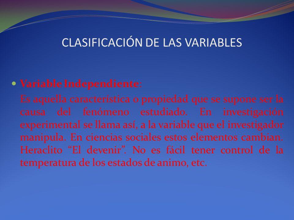 CLASIFICACIÓN DE LAS VARIABLES Variable Independiente: Es aquella característica o propiedad que se supone ser la causa del fenómeno estudiado. En inv