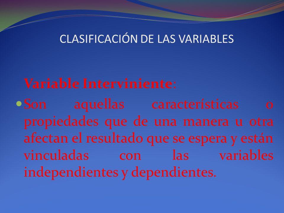 CLASIFICACIÓN DE LAS VARIABLES Variable Interviniente: Son aquellas características o propiedades que de una manera u otra afectan el resultado que se