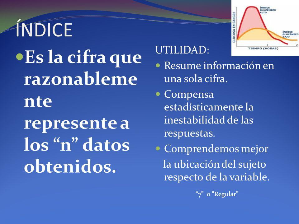 ÍNDICE Es la cifra que razonableme nte represente a los n datos obtenidos. UTILIDAD: Resume información en una sola cifra. Compensa estadísticamente l