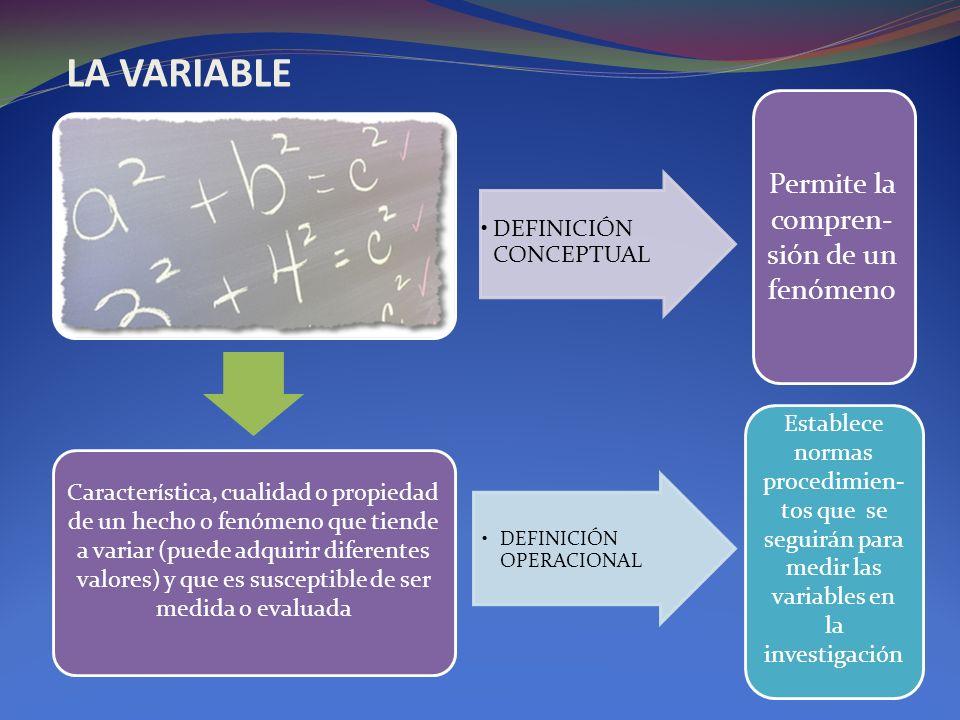 Característica, cualidad o propiedad de un hecho o fenómeno que tiende a variar (puede adquirir diferentes valores) y que es susceptible de ser medida