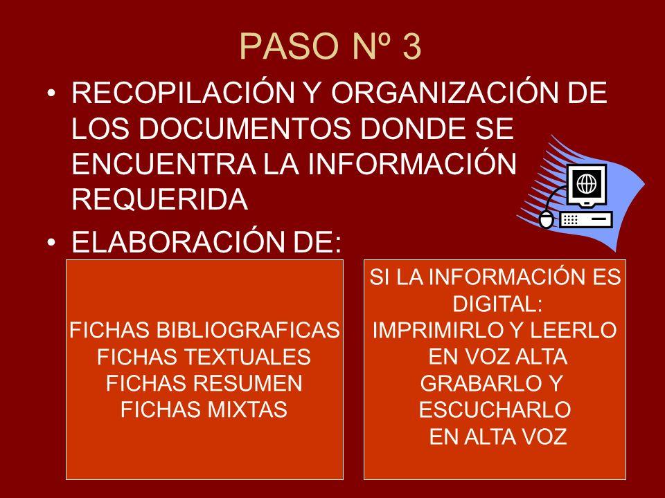 PASO Nº 3 RECOPILACIÓN Y ORGANIZACIÓN DE LOS DOCUMENTOS DONDE SE ENCUENTRA LA INFORMACIÓN REQUERIDA ELABORACIÓN DE: FICHAS BIBLIOGRAFICAS FICHAS TEXTU