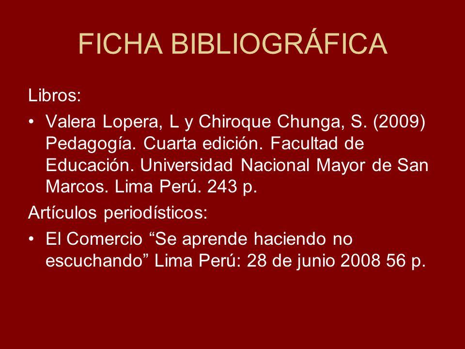 FICHA BIBLIOGRÁFICA Libros: Valera Lopera, L y Chiroque Chunga, S. (2009) Pedagogía. Cuarta edición. Facultad de Educación. Universidad Nacional Mayor