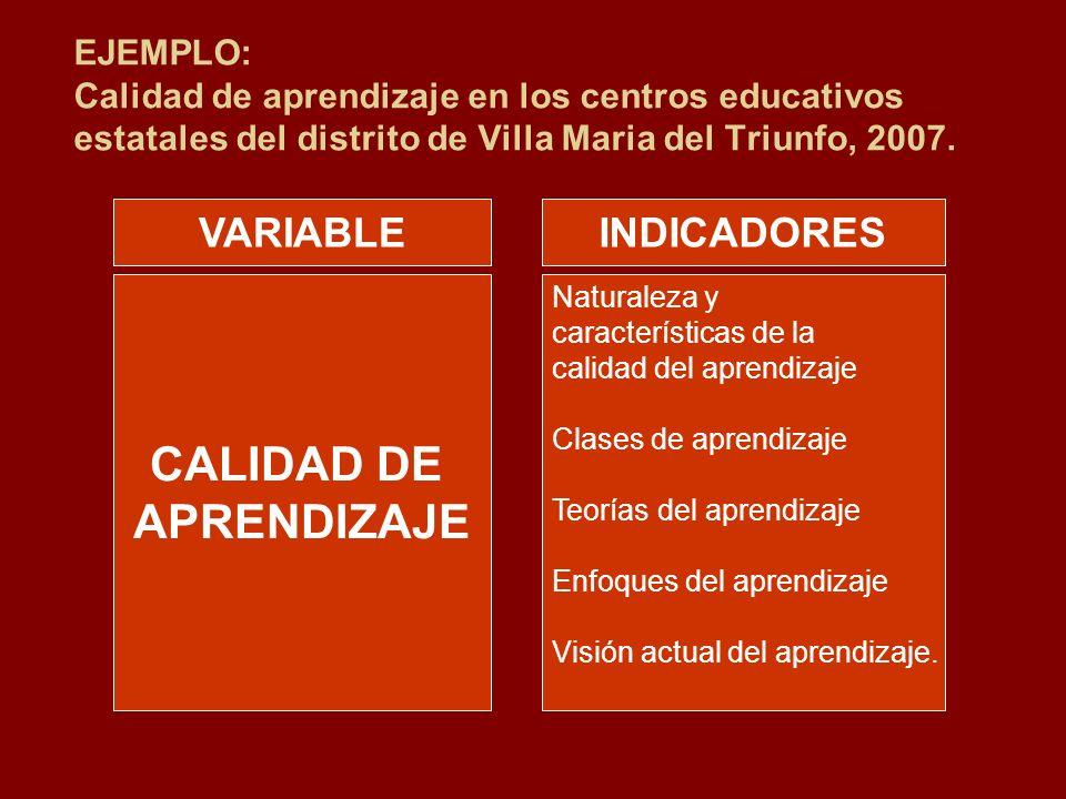 EJEMPLO: Calidad de aprendizaje en los centros educativos estatales del distrito de Villa Maria del Triunfo, 2007. CALIDAD DE APRENDIZAJE Naturaleza y