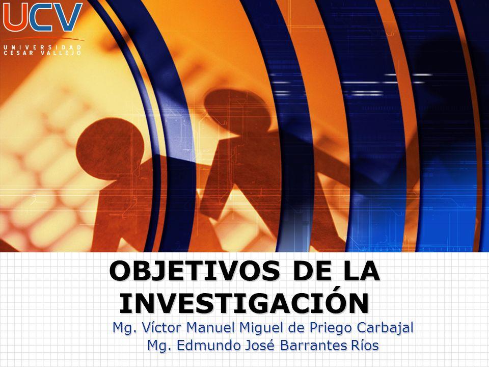 Mg. Víctor Manuel Miguel de Priego Carbajal Mg. Edmundo José Barrantes Ríos OBJETIVOS DE LA INVESTIGACIÓN