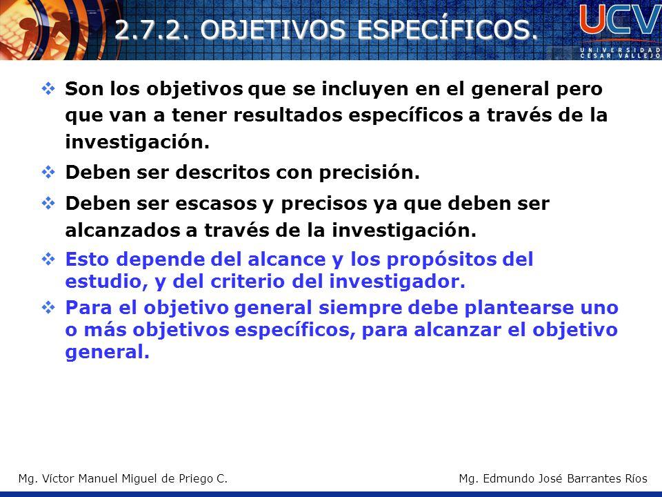 Mg. Víctor Manuel Miguel de Priego C. 2.7.2. OBJETIVOS ESPECÍFICOS. Son los objetivos que se incluyen en el general pero que van a tener resultados es