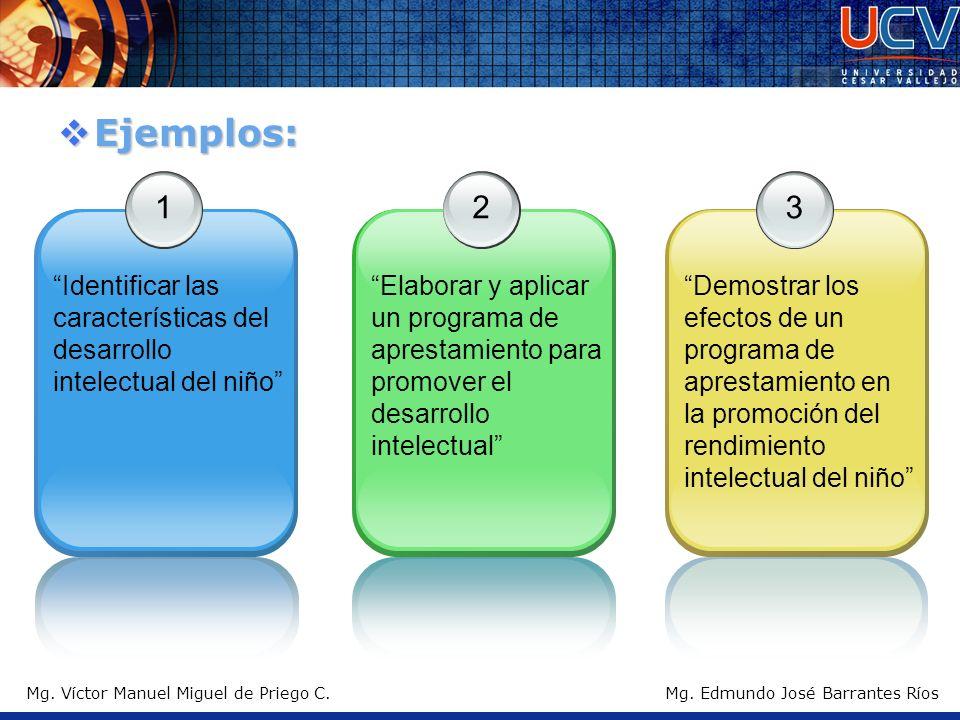 Mg. Víctor Manuel Miguel de Priego C. Ejemplos: Ejemplos: 1 Identificar las características del desarrollo intelectual del niño 2 Elaborar y aplicar u