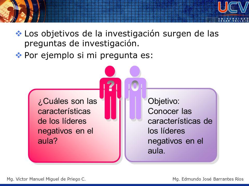 Mg. Víctor Manuel Miguel de Priego C.Mg. Edmundo José Barrantes Ríos Los objetivos de la investigación surgen de las preguntas de investigación. Por e
