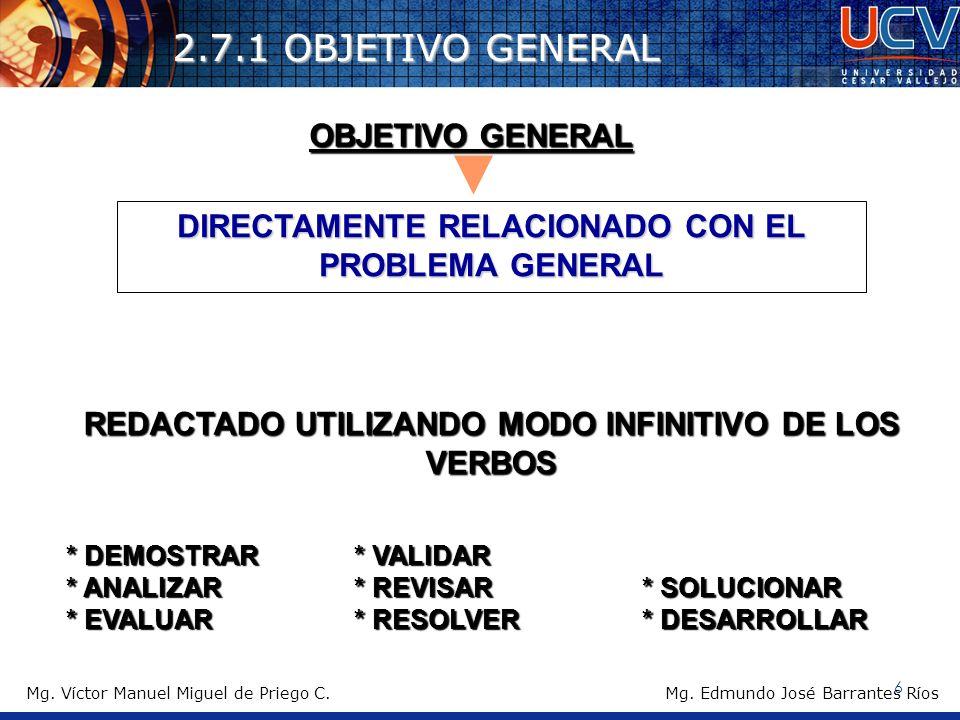 2.7.1 OBJETIVO GENERAL OBJETIVO GENERAL DIRECTAMENTE RELACIONADO CON EL PROBLEMA GENERAL REDACTADO UTILIZANDO MODO INFINITIVO DE LOS VERBOS * DEMOSTRA