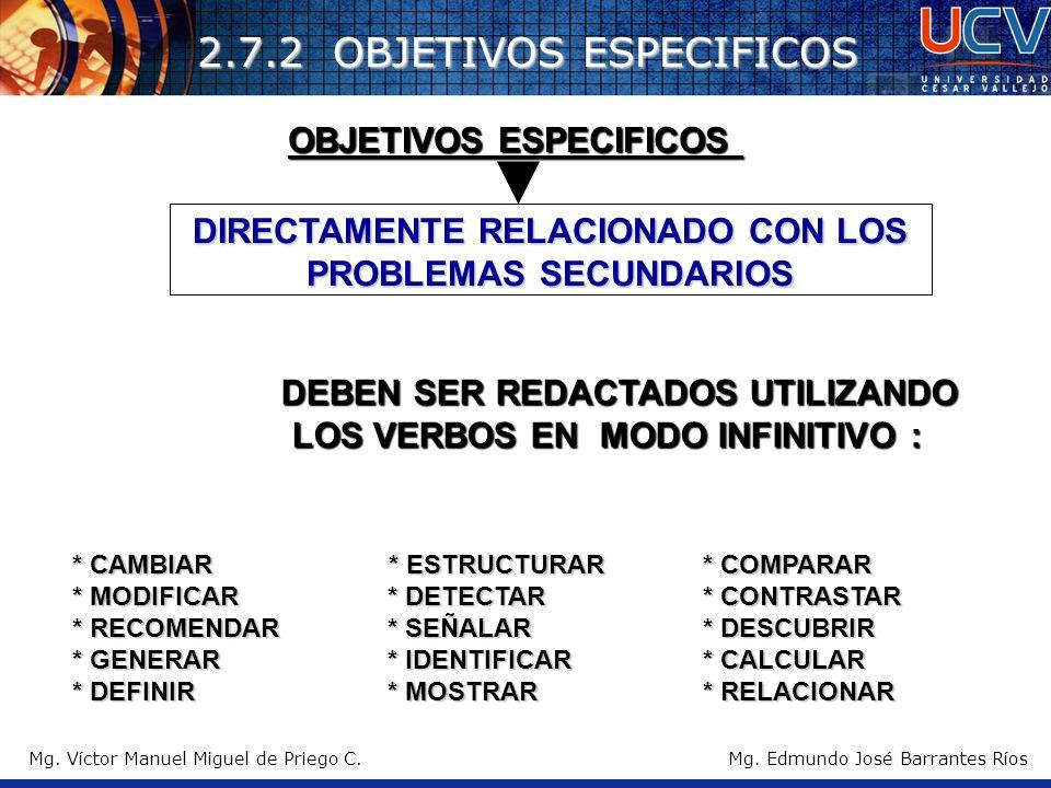 2.7.2 OBJETIVOS ESPECIFICOS DIRECTAMENTE RELACIONADO CON LOS PROBLEMAS SECUNDARIOS DEBEN SER REDACTADOS UTILIZANDO LOS VERBOS EN MODO INFINITIVO : OBJ