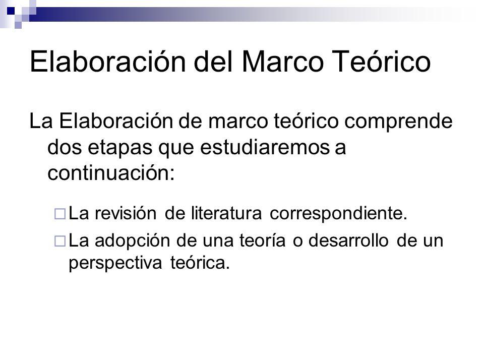 Elaboración del Marco Teórico La Elaboración de marco teórico comprende dos etapas que estudiaremos a continuación: La revisión de literatura correspo