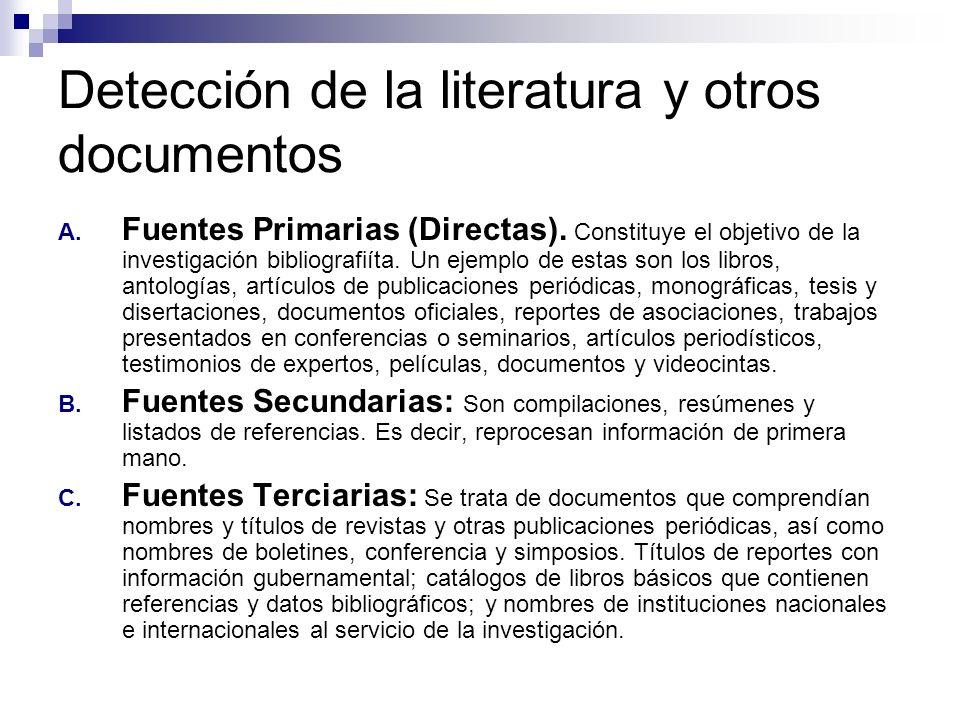 Detección de la literatura y otros documentos A. Fuentes Primarias (Directas). Constituye el objetivo de la investigación bibliografiíta. Un ejemplo d