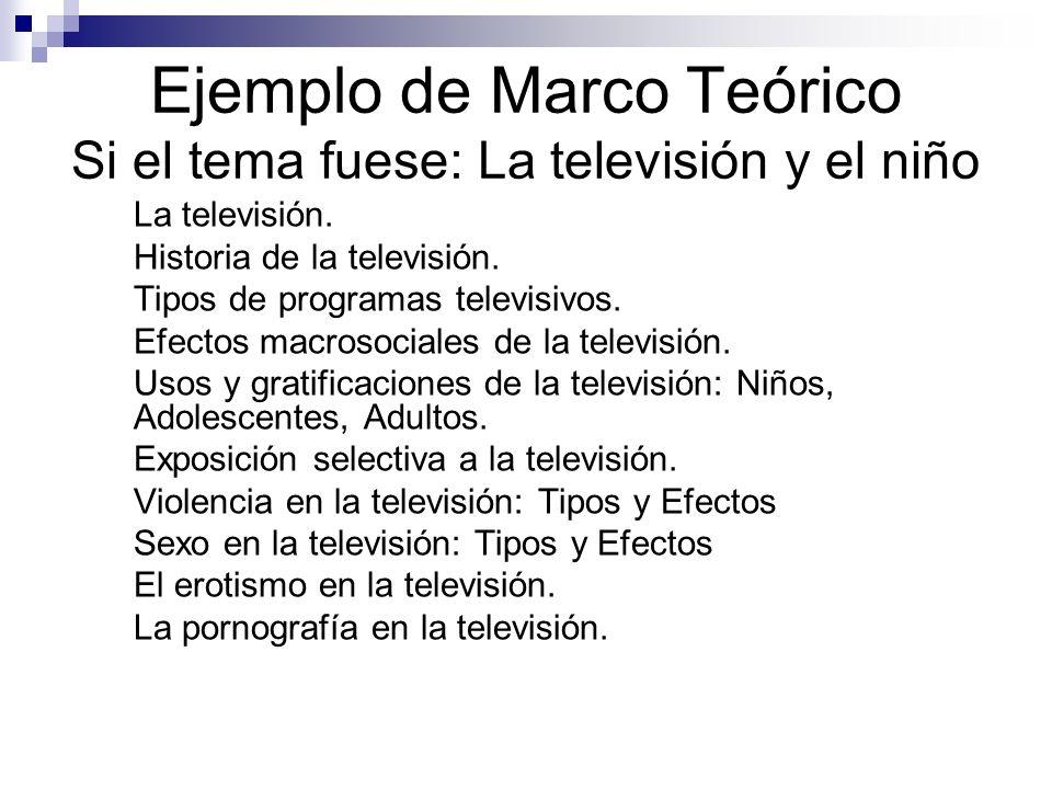 Ejemplo de Marco Teórico Si el tema fuese: La televisión y el niño 1. La televisión. 2. Historia de la televisión. 3. Tipos de programas televisivos.