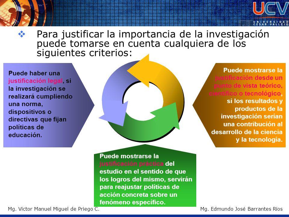 Mg. Víctor Manuel Miguel de Priego C. Para justificar la importancia de la investigación puede tomarse en cuenta cualquiera de los siguientes criterio