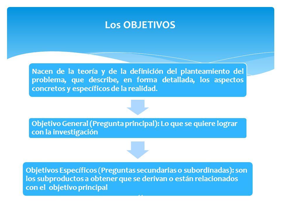 Nacen de la teoría y de la definición del planteamiento del problema, que describe, en forma detallada, los aspectos concretos y específicos de la rea