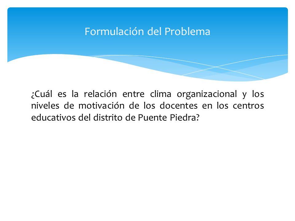 ¿Cuál es la relación entre clima organizacional y los niveles de motivación de los docentes en los centros educativos del distrito de Puente Piedra? 2