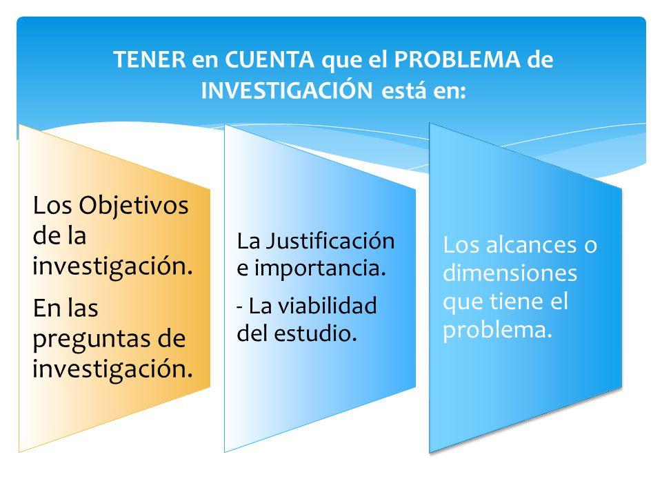 Los Objetivos de la investigación. En las preguntas de investigación. La Justificación e importancia. - La viabilidad del estudio. Los alcances o dime