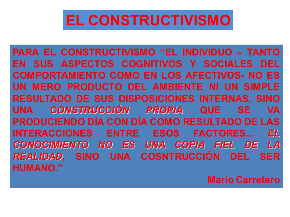 EL CONSTRUCTIVISMO CONSTRUCCIÓN PROPIA EL CONOCIMIENTO NO ES UNA COPIA FIEL DE LA REALIDAD PARA EL CONSTRUCTIVISMO EL INDIVIDUO – TANTO EN SUS ASPECTO
