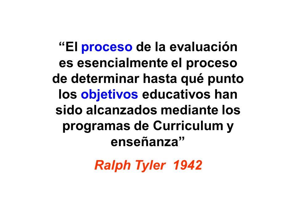 El proceso de la evaluación es esencialmente el proceso de determinar hasta qué punto los objetivos educativos han sido alcanzados mediante los progra