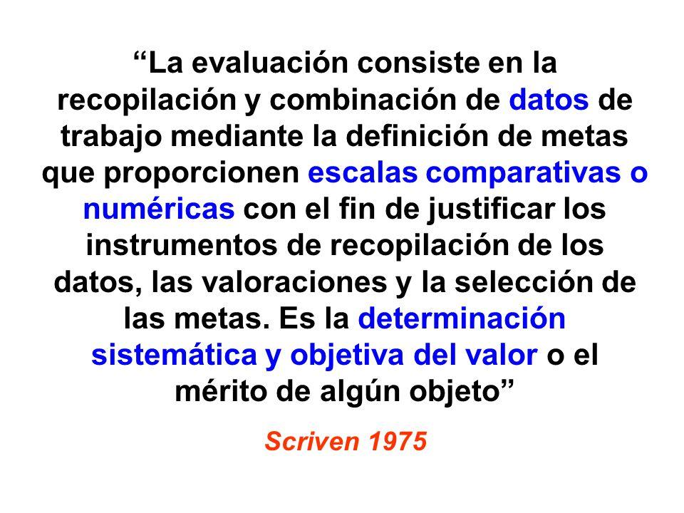 La evaluación consiste en la recopilación y combinación de datos de trabajo mediante la definición de metas que proporcionen escalas comparativas o nu