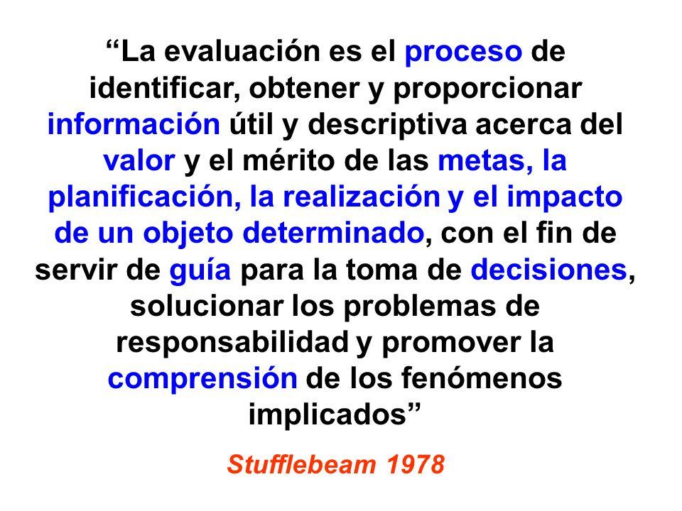 La evaluación es el proceso de identificar, obtener y proporcionar información útil y descriptiva acerca del valor y el mérito de las metas, la planif