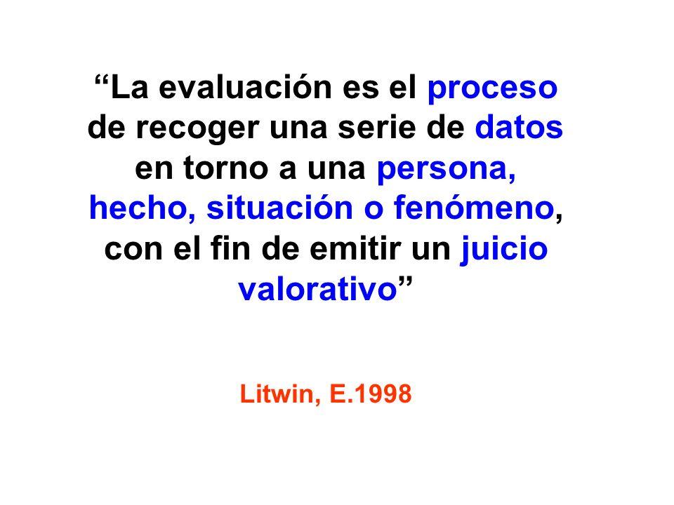 La evaluación es el proceso de recoger una serie de datos en torno a una persona, hecho, situación o fenómeno, con el fin de emitir un juicio valorati