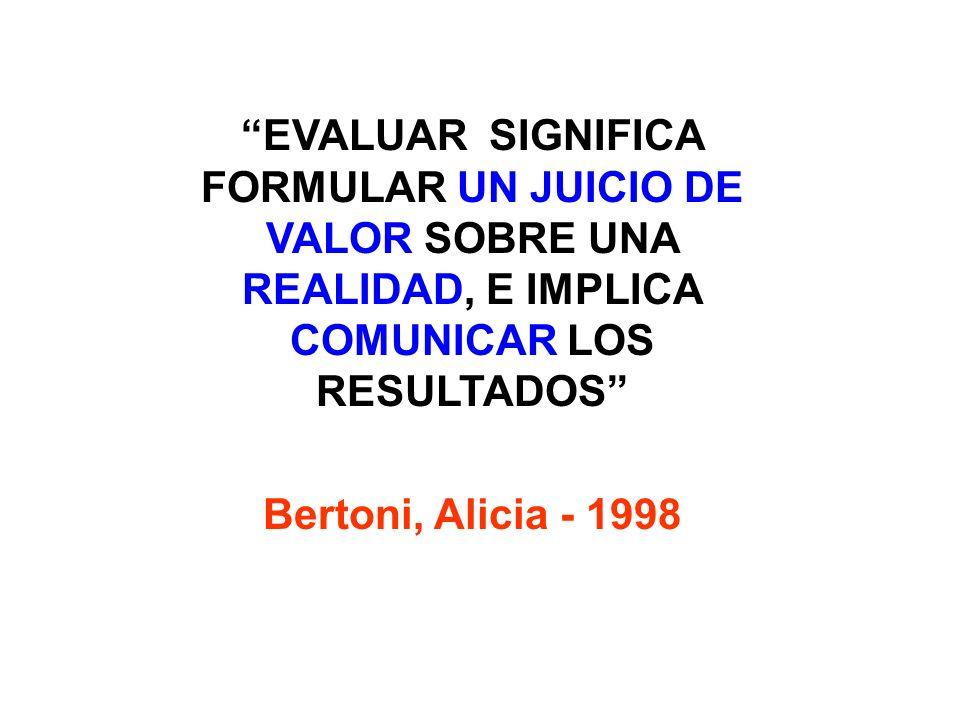 EVALUAR SIGNIFICA FORMULAR UN JUICIO DE VALOR SOBRE UNA REALIDAD, E IMPLICA COMUNICAR LOS RESULTADOS Bertoni, Alicia - 1998