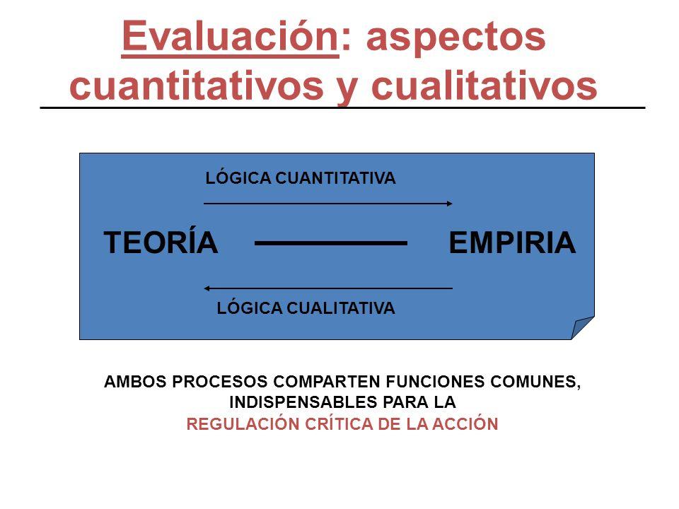 Evaluación: aspectos cuantitativos y cualitativos AMBOS PROCESOS COMPARTEN FUNCIONES COMUNES, INDISPENSABLES PARA LA REGULACIÓN CRÍTICA DE LA ACCIÓN T