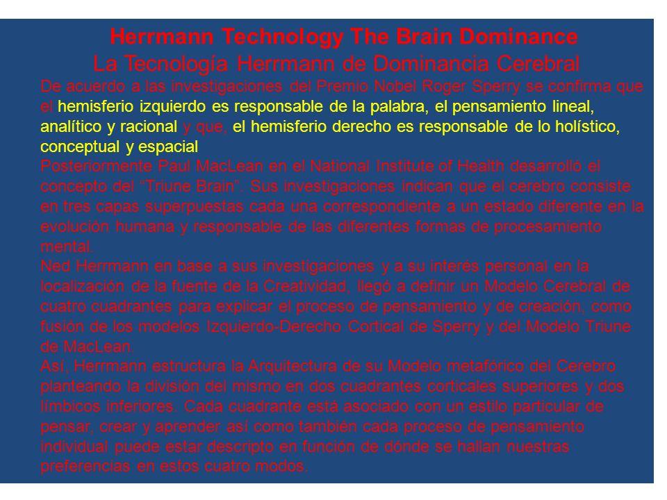 Herrmann Technology The Brain Dominance La Tecnología Herrmann de Dominancia Cerebral De acuerdo a las investigaciones del Premio Nobel Roger Sperry s