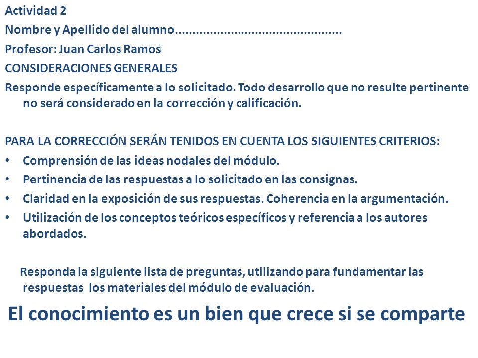 Actividad 2 Nombre y Apellido del alumno................................................ Profesor: Juan Carlos Ramos CONSIDERACIONES GENERALES Respond