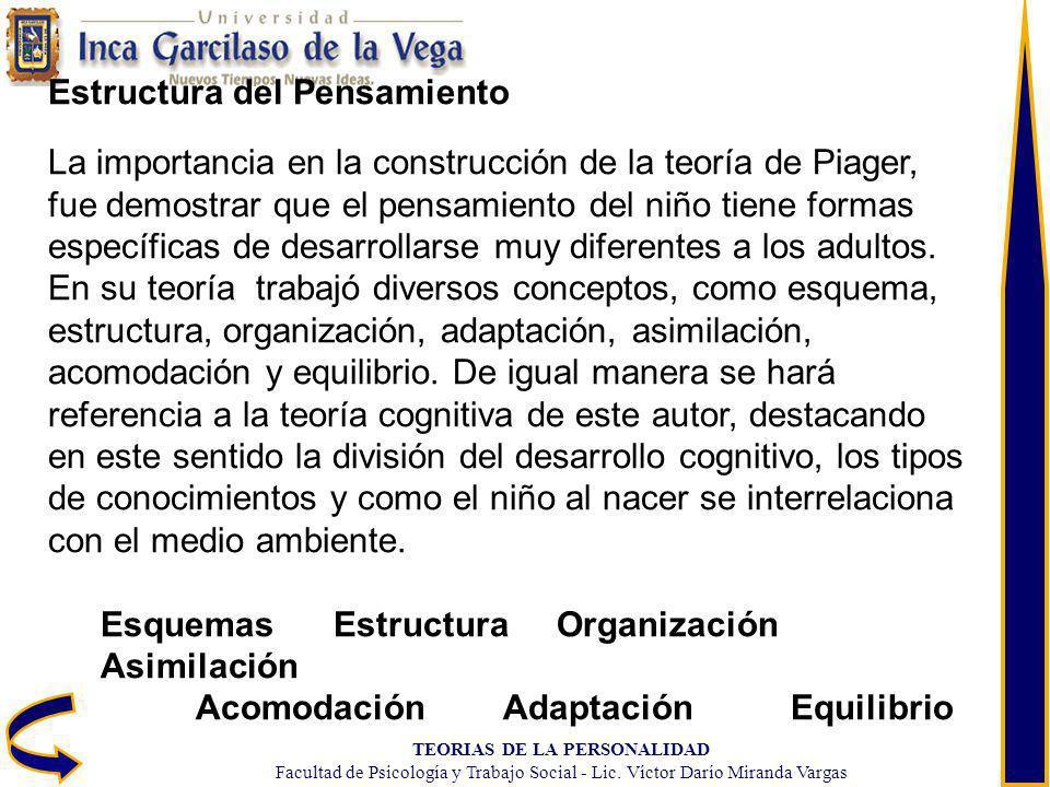 TEORIAS DE LA PERSONALIDAD Facultad de Psicología y Trabajo Social - Lic. Víctor Darío Miranda Vargas Estructura del Pensamiento La importancia en la