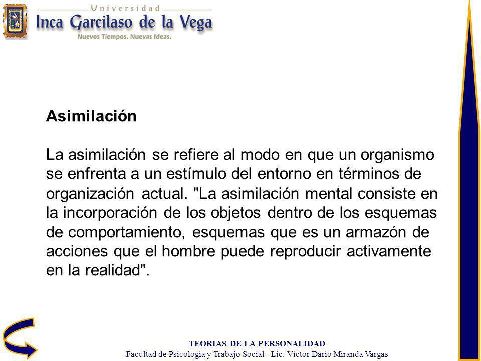 TEORIAS DE LA PERSONALIDAD Facultad de Psicología y Trabajo Social - Lic. Víctor Darío Miranda Vargas Asimilación La asimilación se refiere al modo en