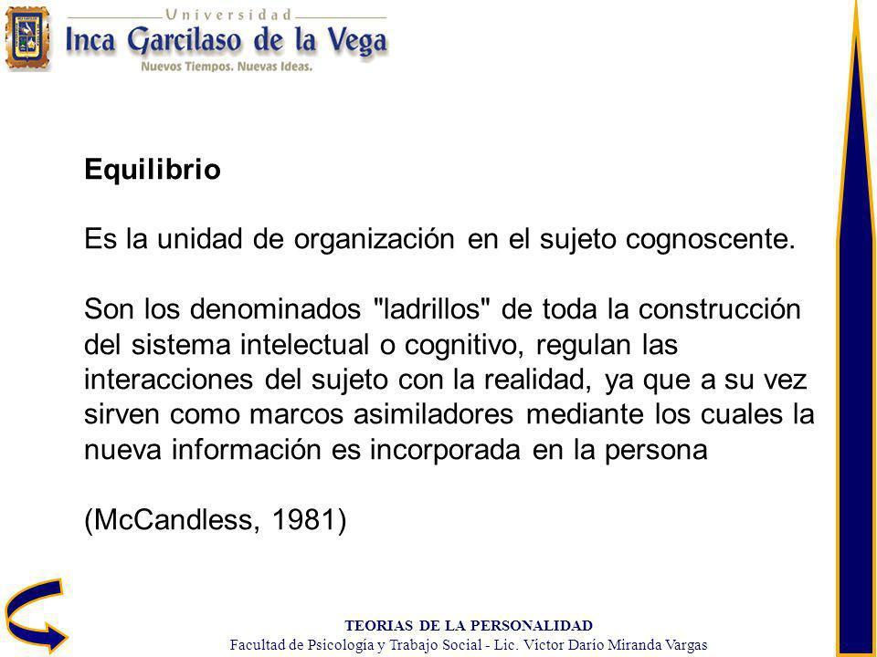 TEORIAS DE LA PERSONALIDAD Facultad de Psicología y Trabajo Social - Lic. Víctor Darío Miranda Vargas Equilibrio Es la unidad de organización en el su