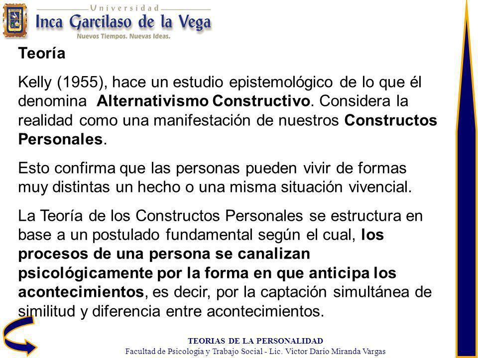 TEORIAS DE LA PERSONALIDAD Facultad de Psicología y Trabajo Social - Lic. Víctor Darío Miranda Vargas Teoría Kelly (1955), hace un estudio epistemológ