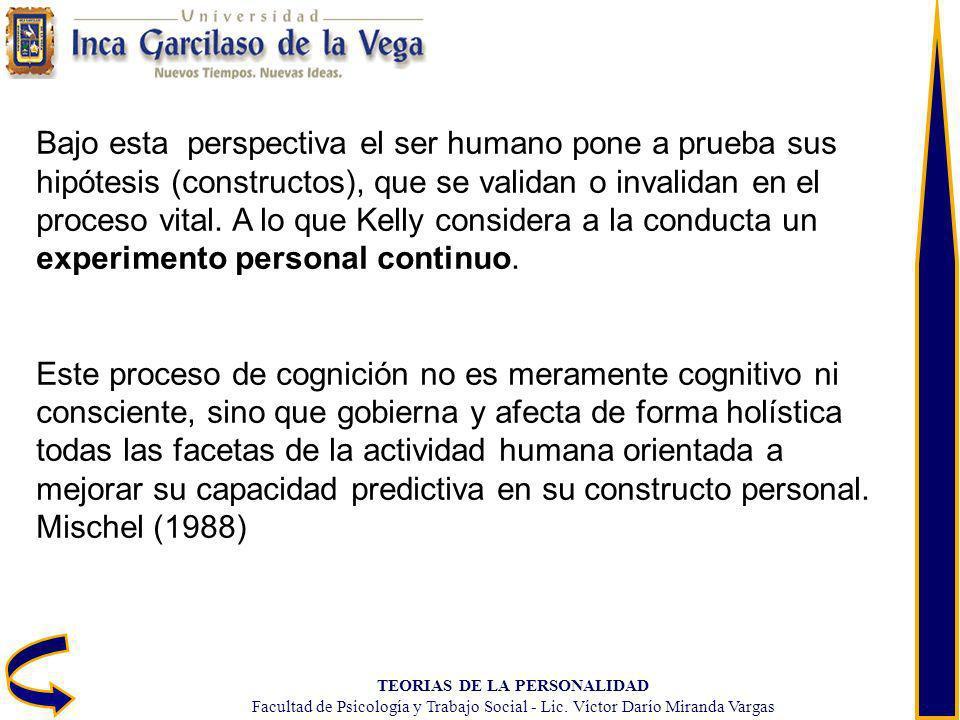 TEORIAS DE LA PERSONALIDAD Facultad de Psicología y Trabajo Social - Lic. Víctor Darío Miranda Vargas Bajo esta perspectiva el ser humano pone a prueb